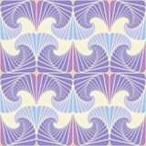 Seamless pattern in cool colors of spirally twisted petals. Seamless pattern on a light beige background in cool colors of rhythmically repeating purple, lilac Royalty Free Stock Photos