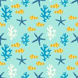 Seamless pattern with coral reef, anemone fish and starfish. Underwater background Stock Photography