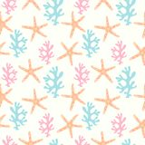Seamless pattern with coral reef  and starfish. Underwater background Royalty Free Stock Photo