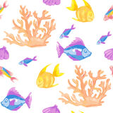 Seamless pattern with coral and tropical fish Stock Image