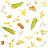 Seamless pattern with corn foodstuff. There are corn ears, grains, oil, pie, cookies, grits, flour, popcorn and flakes in the pattern Royalty Free Stock Image