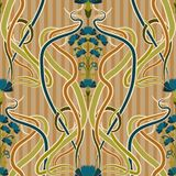 Seamless pattern with cornflower blue in art nouveau style, vector. Illustration Royalty Free Stock Photography