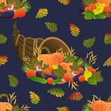 Seamless pattern. Cornucopia. Harvest festival. Ripe vegetables. Pumpkin, cucumbers, tomatoes, eggplants, bell peppers and mushroo royalty free illustration