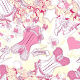 Seamless pattern with corset underwear and fashion accessories Stock Photos