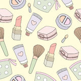 Seamless pattern of cosmetic background. Vector illustration Royalty Free Stock Photography