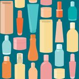 Seamless pattern with cosmetic bottles Royalty Free Stock Image