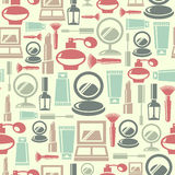 Seamless pattern with cosmetic icons Royalty Free Stock Photo