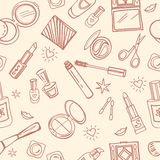 Seamless pattern of cosmetics Royalty Free Stock Images