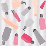 Seamless pattern with cosmetics bottles Stock Images