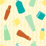 Seamless pattern with cosmetics bottles Royalty Free Stock Photo