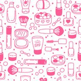 Seamless pattern with cosmetics Stock Photography