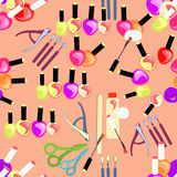 Seamless pattern of cosmetics for hands and nails female. vector Royalty Free Stock Image
