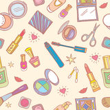 Seamless pattern with cosmetics Stock Photo