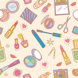 Seamless pattern with cosmetics Stock Photos