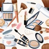 Seamless pattern from cosmetics objects Royalty Free Stock Photo