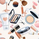 Seamless pattern from cosmetics objects cream,eye shadow Stock Photography