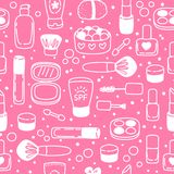 Seamless pattern with cosmetics Royalty Free Stock Photo