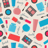 Seamless pattern with cosmetics and text Royalty Free Stock Photography