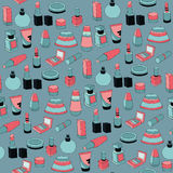 Seamless pattern with cosmetics Stock Image