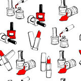 Seamless pattern with cosmetics Stock Images