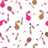 Seamless, pattern. Cosmetics and women`s accessories in pink and beige color on a white background. Flat vector. royalty free illustration