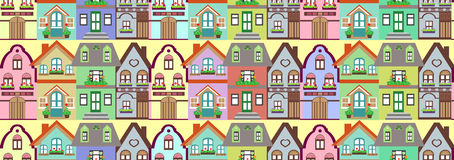 Seamless pattern cottage houses Royalty Free Stock Photography