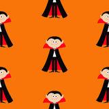 Seamless Pattern Count Dracula. Cute cartoon vampire character with fangs. Happy Halloween texture. Flat design. Orange background Royalty Free Stock Photography