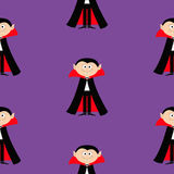 Seamless Pattern Count Dracula. Cute cartoon vampire character with fangs. Happy Halloween texture. Flat design. Violet background Royalty Free Stock Photography