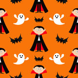 Seamless Pattern Count Dracula, flying bat, ghost spirit . Cute cartoon vampire character with fangs. Happy Halloween texture. Fla Stock Photo