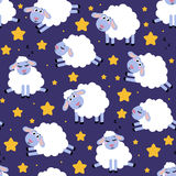 Seamless pattern of counting sheep to fall asleep. Cartoon happy jumping sheep for baby. Vector background Stock Photos