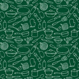 Seamless pattern countour kitchen ware Stock Photography