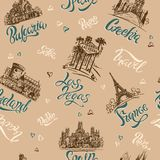 Seamless pattern. Countries and cities. Lettering. Sketches. Landmarks. Travel. Bulgaria,Czech Republic, Las Vegas, Ireland, Franc. Seamless pattern. Countries Royalty Free Stock Images
