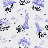Seamless pattern. Countries and cities. Lettering. Sketches. Landmarks. Travel. Italy, Rome, America, Sweden, India, Egypt. Vector stock illustration
