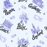 Seamless pattern. Countries and cities. Lettering. Sketches. Landmarks. Travel. Russia Greece Turkey Italy Germany. Vector. vector illustration