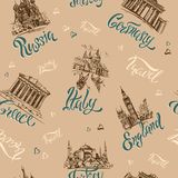 Seamless pattern. Countries and cities. Lettering. Sketches. Landmarks. Travel. Russia, Greece, Turkey, Italy, Germany. Vector. stock illustration