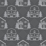Seamless pattern with country houses Royalty Free Stock Photography