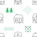 Seamless pattern with country houses Royalty Free Stock Photos