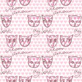 Seamless pattern with a couple of cats in love and inscriptions. About love in French and English with a background of small pink hearts. Vector image royalty free illustration