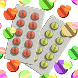 Seamless pattern with a couple medical tablets in packing on a w Stock Images