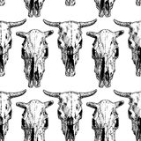 Seamless pattern with cow and bull skull Stock Photography