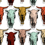 Seamless pattern with cow and bull skull Royalty Free Stock Image