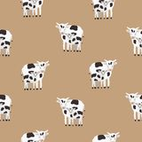 Seamless pattern with cow and calf coated in black and white patches. Backdrop with cute cartoon animals on brown. Background. Colorful vector illustration for Stock Photos