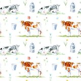 Seamless pattern of a cow, flower and milk.Farm animals. Royalty Free Stock Image