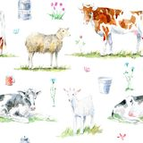 Seamless pattern of a cow,sheep,goat, flower and milk. Royalty Free Stock Photos