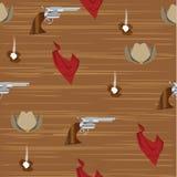 Cowboy pattern. Seamless pattern of cowboy objects Royalty Free Stock Image