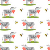 Seamless pattern with cows and bees. Stock Photography