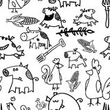Seamless pattern - cows, hens, pigs Royalty Free Stock Photos