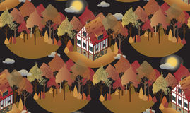 Seamless pattern with cozy european houses. Autumn. Flat style illustration. Seamless pattern with old historic buildings of Europe. Patterns can be used as vector illustration