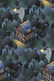Seamless pattern with cozy european houses. Night. Flat style  illustration. Royalty Free Stock Image