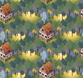 Seamless pattern with cozy european houses. Summer. Flat style  illustration. Stock Photography